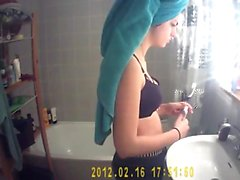 Hidden cam shower vids amaing teen at shower