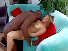 Busty blonde Daphne Rosen eats big black cock and gets anal