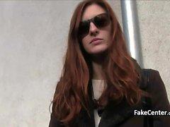 Redhead gal got facial outdoor