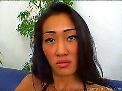 Asian woman enjoying double fuck