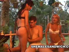 Yris Schimit and Carla Renata ThreeSome Trannies