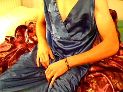 Cumming over blue satin lined dress