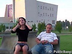 Brunette public banging on a bench