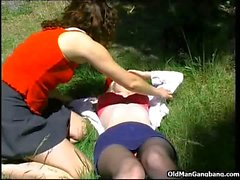Spying and group sex outdoors