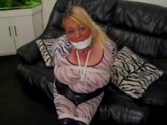 Harness gagged & Hogtied.
