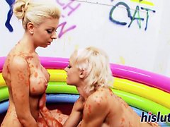 Two raunchy blondes have kinky lesbian sex
