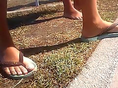 Candid Tatoo Foot in beach with sand - Feet 36