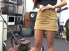 Sexy college girl lap dance and pounded at the pawnshop