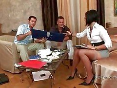 Cassye (Cassy) in tan stockings threesome