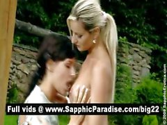 Stunning brunette and blonde lesbos kissing and having lesbo sex outdoor