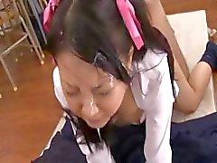 Japanese schoolgirl gets fingered, fucked, and a big load of cum