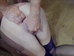 Hot wife fills her pusy with cum lube and gets fisted