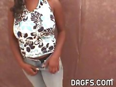 Plump ebony chick shows her big natural tits and gives a POV blowjob to his white cock