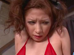 Tsubasa Aihara shows off in red lingerie ready to fuck