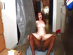 Ginger interracial fuck in the store room