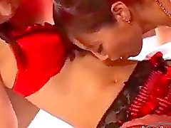 2 Asian Girls In Stockings Sucking Nipples Patting Licking Bodies On The Mattress In The Room