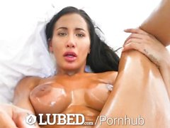 LUBED Busty Amia Miley oils up wet pussy before hot beef injection