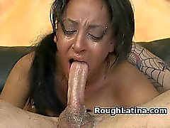 Slutty Latina Amateur Girl Gagging On White Dick