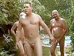 Three grandpas fucking and pissing on nasty girl
