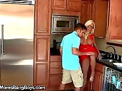 Slutty MILF Makes Teen Boy Eat Pussy