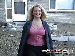 Public nudity flashing busty blonde Barbie naked outdoors
