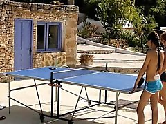 3 table tennis players passionate lesbian action outdoors