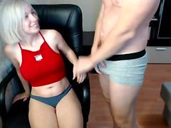 Russian blonde amateur fingering herself on live webcam