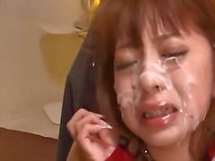 Asian Girl Handcuffed And Mouthgagged Tiny Tits Rubbed Pussy Fucked With Toys While Guys Cumming To Her Face In The Room