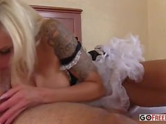 Busty French maid Nina Elle fucked in hotel