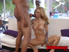 Blonde milf Sarah Jessie interracially fucked