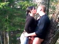 My hot girlfriend sucks and fucks me at our campsite
