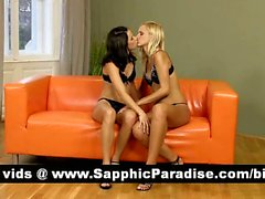 Sensual brunette and blonde lesbos licking nipples and having lesbo sex