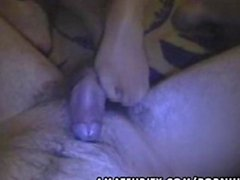 Amateur girlfriend gives footjob and blowjob with cumshot