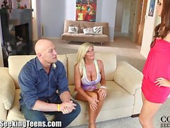 Hungry Cougar and Lily Carter Threesome