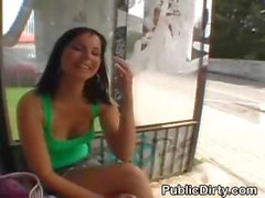 Brunette Flashing Titties In Public At Bus Stop