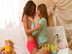 Horny lesbo coeds from Russia kissing