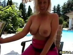 Hot Mommy has some fun around the pool and like being naked