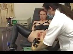 Doctor stretches her tight Ass ElectroSex and Pierced Pussy