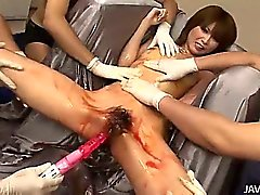 Rika in silver has her body abused by horny Japanese guys