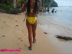 Ameteur Tiny Thai Teen Heather Deep day at the beach gives deepthroat Throa