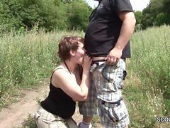 German Street Whore get fuck Outdoor by Stranger for Money