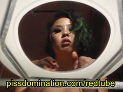 Asian Dominatrix Pee Toilet POV