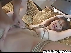 Provocative Japanese sweety bound and fingere