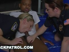 BLACK PATROL - Black Suspect Is Dominated and Fucked By Big Ass MILF Cops