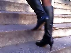 Business Milf eagerly walking with pantyhose & boots