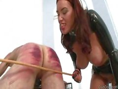 Male slave receives some training from her strict mistress
