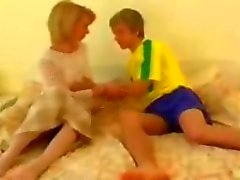 Blonde granny gets fucked by her cute teen boyfriend