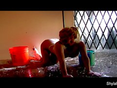 Wet solo action with busty blonde Shyla Stylez