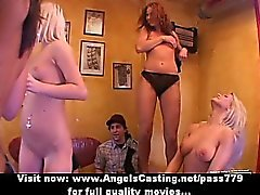 Gorgeous superb lovely girls with natural tits getting gangbang fucking
