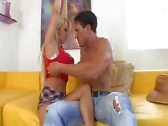 Busty blonde Holly Halston got turned on by the gardner and fucks him